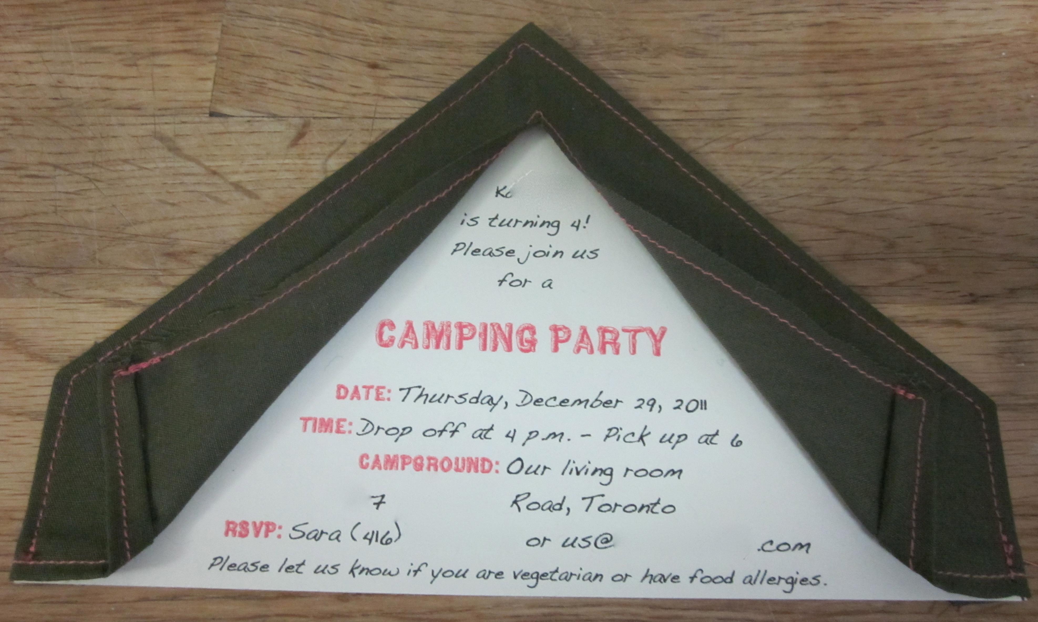 Tent invitations! | sweet & crunchy